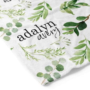 Leafy Greenery Personalized Toddler Blanket