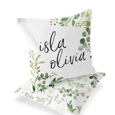 Personalized Leafy Greenery Name Accent Pillow