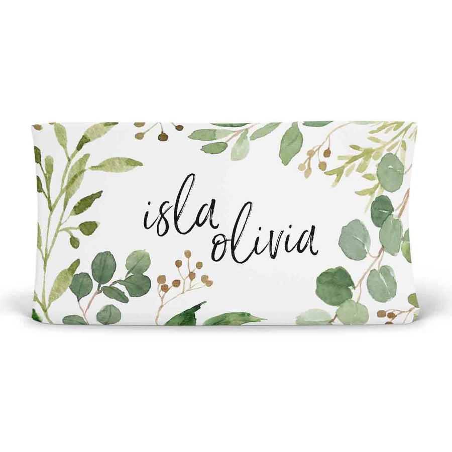 Leafy Greenery Personalized Fitted Changing Pad Cover