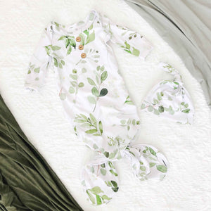 Leafy Greenery Newborn Baby Knot Gown & Hat