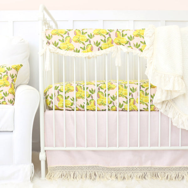 blush pink lemon watercolor crib set with boho tassel fringe trim