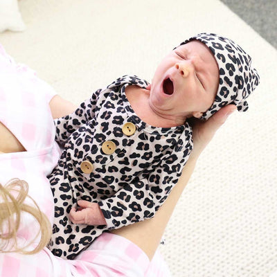 leopard newborn take me home knot gown