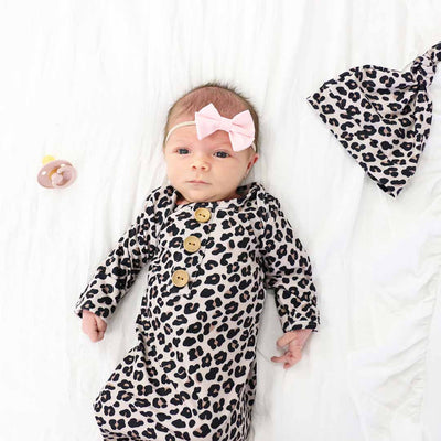 Lila's Leopard Newborn Baby Knot Gown & Hat Set