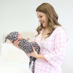 pink gingham maternity robe
