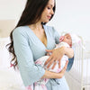 Solid Light Dusty Blue Bamboo Knit Maternity Robe