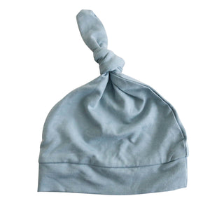 light dusty blue knotted newborn hat