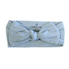 light dusty blue newborn headwrap with bow