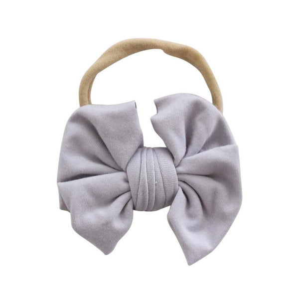 light gray bow headband for newborn