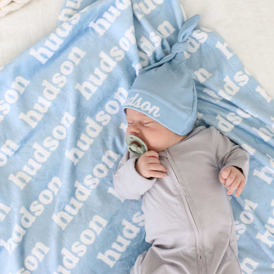 blue baby blanket with name all over