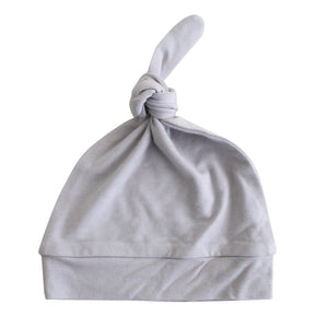 light gray newborn knotted hat