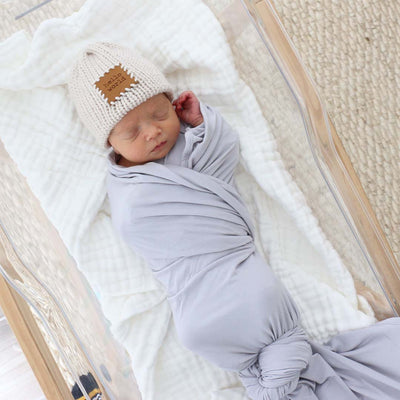 light gray big swaddle for knot