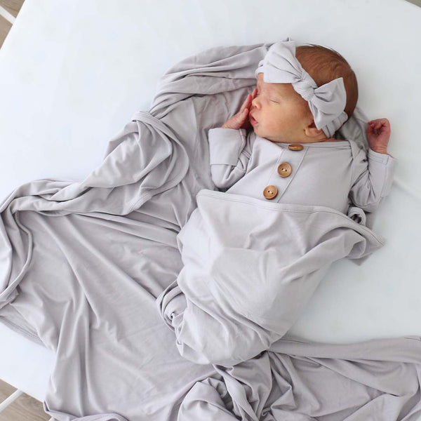 solid light gray swaddle