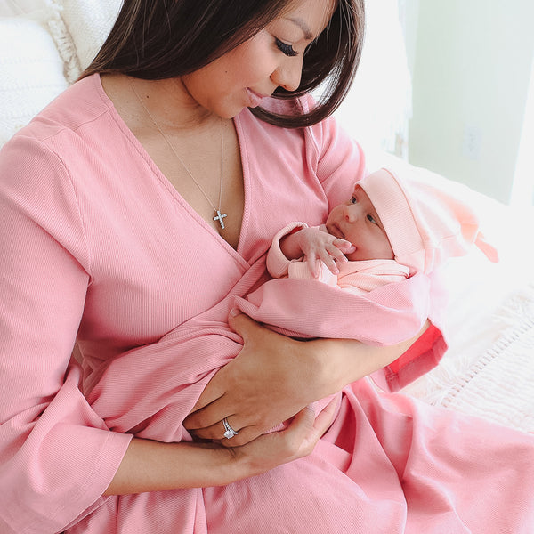 light rose ribbed bamboo maternity robe