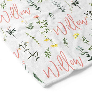 personalized blanket with garden flowers
