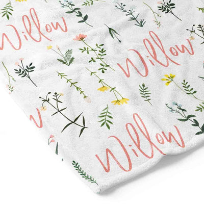personalized kid blanket with name and flowers