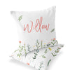 lilly's wildflower leaves personalized throw pillow