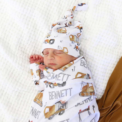 Little Digger Personalized Baby Name Swaddle