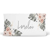 Lorelei's moss palm and blush floral changing pad cover