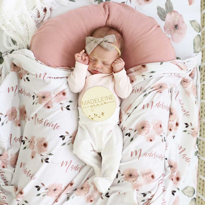 Millie's Dusty Rose Garden Personalized Baby Name Swaddle Blanket