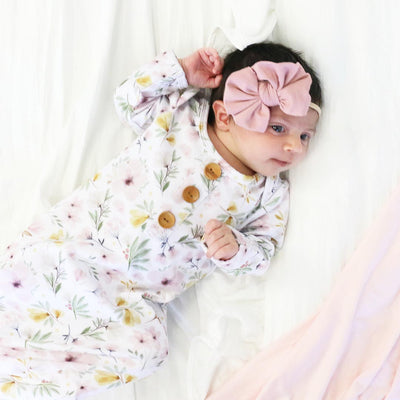 Maeve's Mauve & Mustard Floral Newborn Baby Knot Gown & Hat Set*