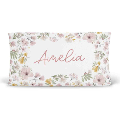 Maeve's Mauve & Mustard Floral Personalized Changing Pad Cover