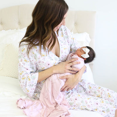Maeve's Mauve & Mustard Floral Knit Maternity Robe