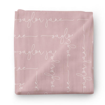 mauve script personalized newborn swaddle