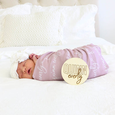 mauve personalized swaddle with script font
