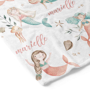 mermaid personalized blanket for toddlers