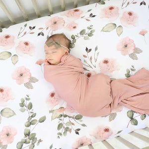 millie's dusty rose garden knit crib sheet