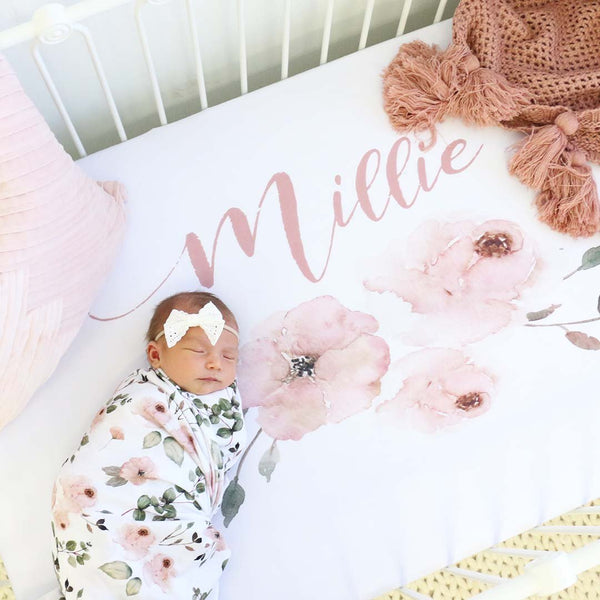 Minky Baby Bedding Personalized Bedding Name Fitted Sheet Girl Crib Sheet Crib Sheet Ivory Floral Wreath Personalized Cream Crib Sheet