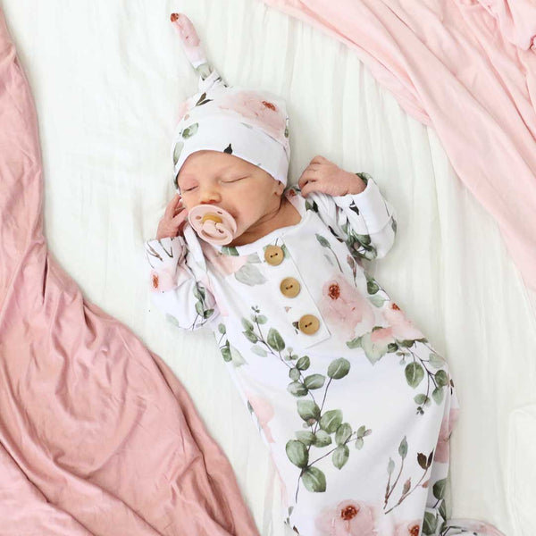 Millie's Dusty Rose Garden Newborn Baby Knot Gown & Hat Set