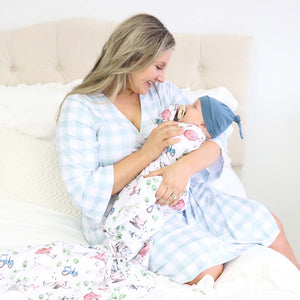 Moss Gingham Knit Maternity Robe