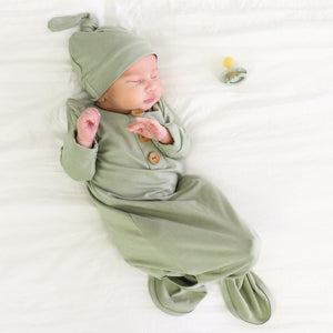Solid Moss Bamboo Baby Knot Gown & Hat*