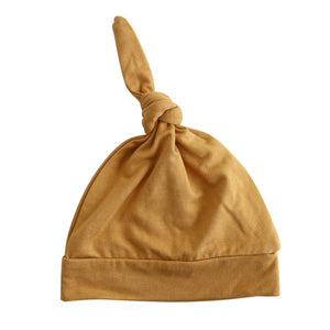 mustard newborn knotted hat