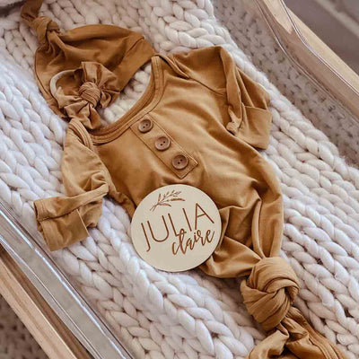 mustard knot gown gender neutral newborn outfit
