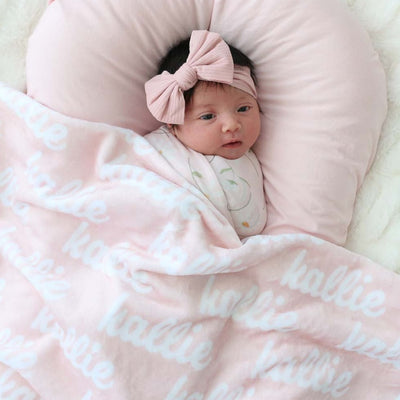 soft blush pink baby name blankets soft