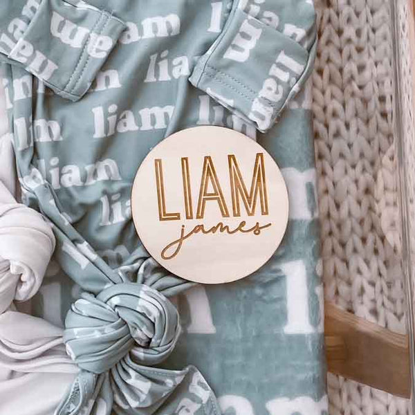 Personalized Baby Name Wood Announcement | Twin Outline