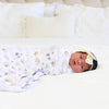Navie's Neutral Floral Personalized Baby Name Swaddle