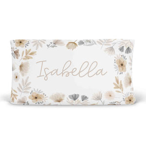 Navie's Neutral Floral Personalized Changing Pad Cover