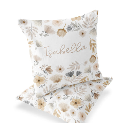 Navie's Neutral Floral Custom Personalized Pillow