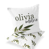 Olive Green and white leafy custom name accent throw pillow