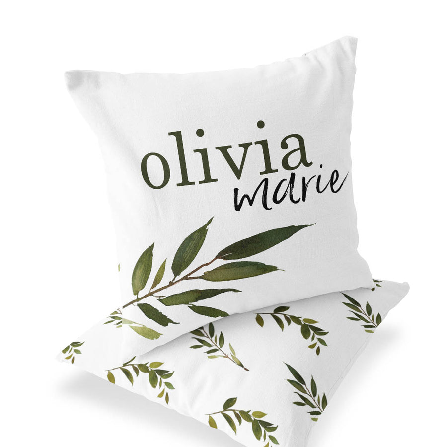 Olive Leaf Custom Name Accent Pillow