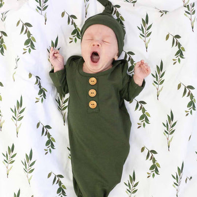 Solid Olive Bamboo Baby Knot Gown & Hat