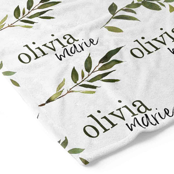 olive leaf personalized toddler blanket