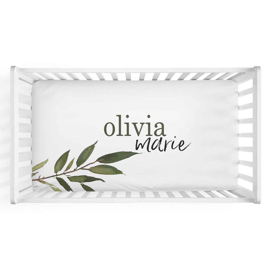 Olive Leaf Personalized Fitted Crib Sheet
