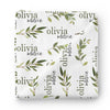 olive leaf baby name swaddle