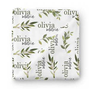 olive leaf farmhouse baby name swaddle