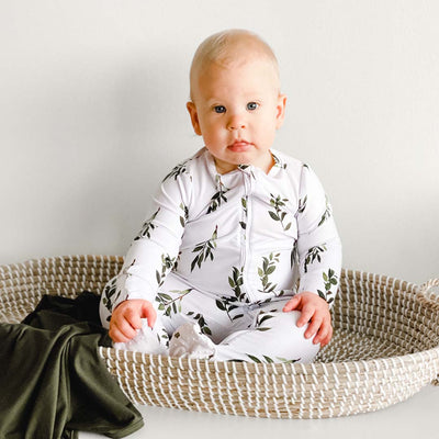 olive leaf footie with zipper