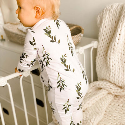 olive leaf footie with zipper sleeper
